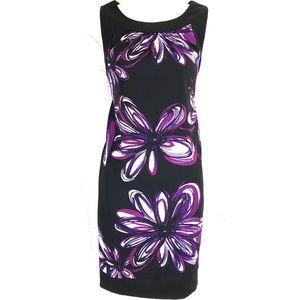AGB Black Purple Floral Stretch Sleeveless Dress 8